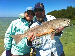 "A nice redfish caught on the ""fishalicious"" fly."