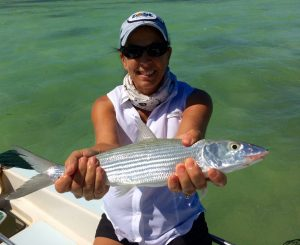 2015 IWFA angler with her first ever bonefish caught on 8lb mono